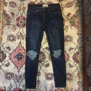 Free People High Rise Busted Knee Skinny
